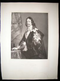After Anthony Van Dyck C1840 LG Folio Print. Charles I, King of England